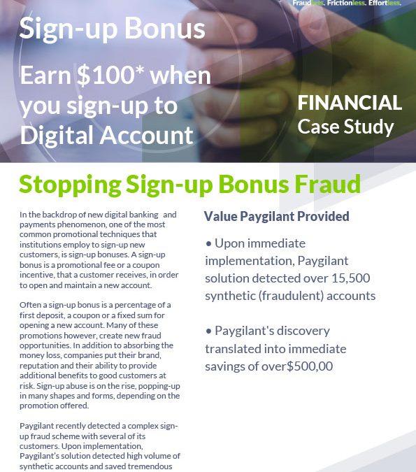 Sign-up bonus fraud – Case study